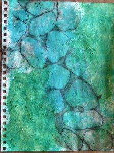 Green and Blue Rock Study